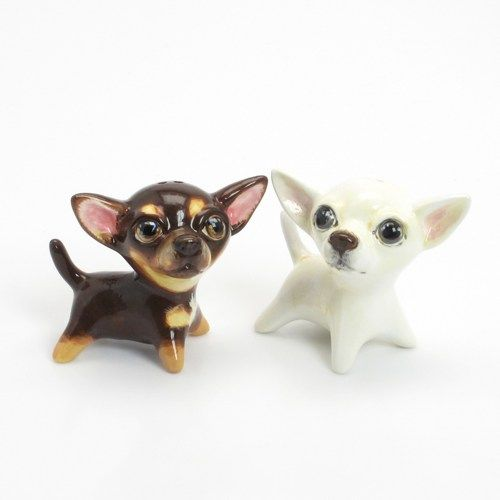 Chihuahua Ceramic Figurine Salt Pepper Shaker Decoration Gift 00047