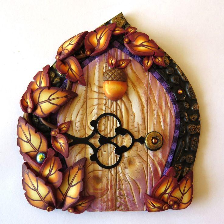 Autumn Leaves Fairy Door, Acorn Pixie Portal, Home Decor, Fairy Garden Accessory, Wall Decor, Miniature Tooth Fairy Door, Polymer Clay by Claybykim on Etsy