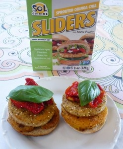 """Sprouted Quinoa Chia Sliders with Fried """"Green"""" Tomatoes!"""