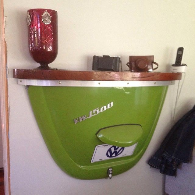 vw bug motor hood wall shelf