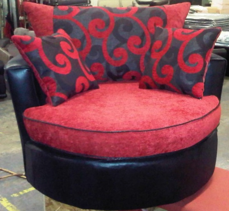 Black Faux Leather With Red Chenille Static Cuddle Chair With Designer  Cushions | EBay
