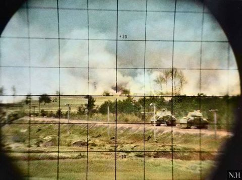 Two German Panzer V Panther tanks of the 5th SS Division sf14z Seen from the model periscope another Panther, Summer 1944, Operation Bagration.