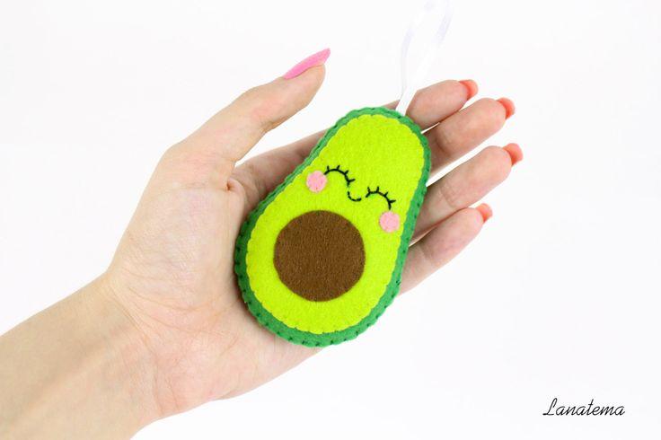 Avocado addobbo albero di natale in feltro, decorazione casa, sushi, avocado, fatto a mano, regalo simpatico,  pannolenci di Lanatema su Etsy