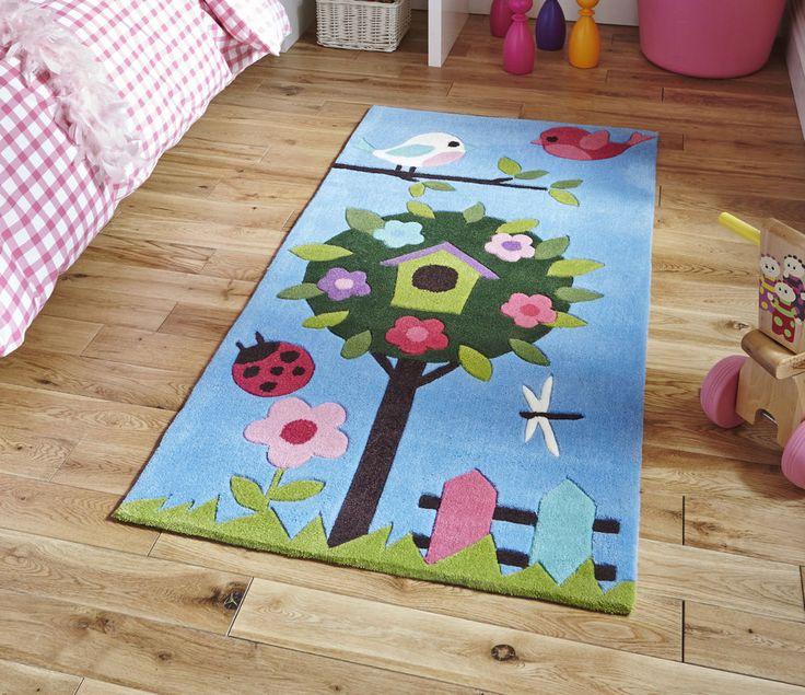 Blue Garden Scene Children s Rug 70cm x 140cm (2'3 x 4'6 ft)