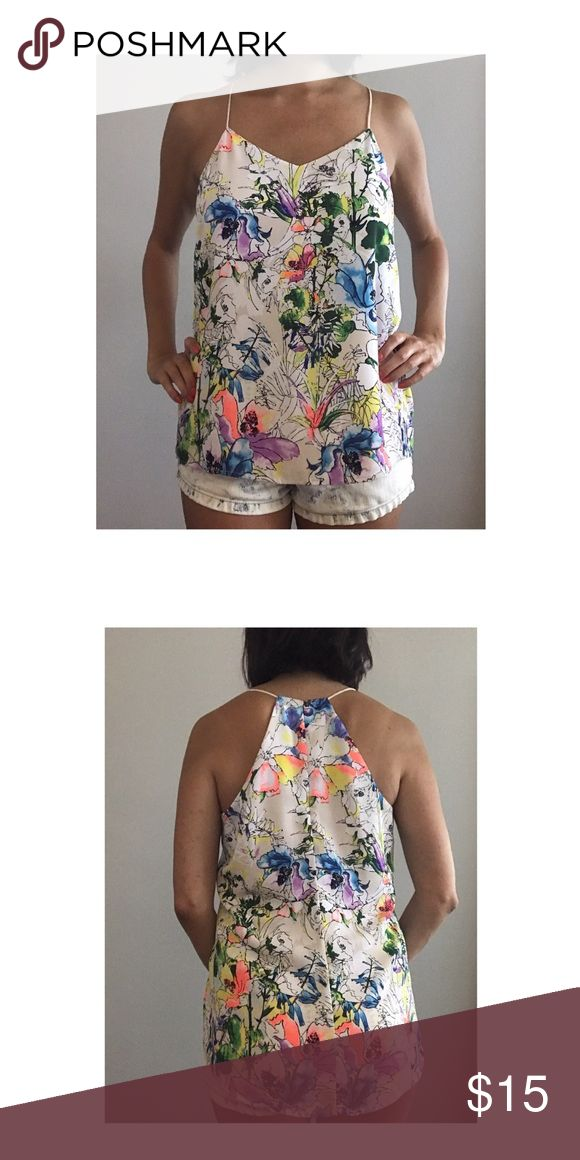 Express Chiffon Cami Express chiffon cami with floral design. Worn once. Express Tops Camisoles