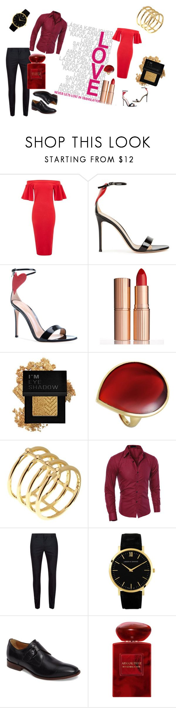 """""""Friday nights with lovers"""" by elfafungian on Polyvore featuring Oh My Love, Gianvito Rossi, Charlotte Tilbury, Forever 21, Ippolita, Elizabeth and James, Topman, Larsson & Jennings, Johnston & Murphy and Armani Beauty"""