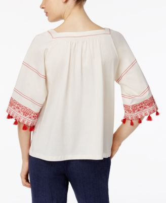 Weekend Max Mara Zambia Embroidered Fringe Blouse - Red M
