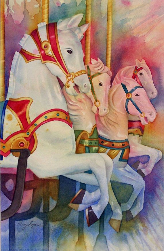 Colorful Watercolor Painting of Carousel Horses by sherryroper, $750.00