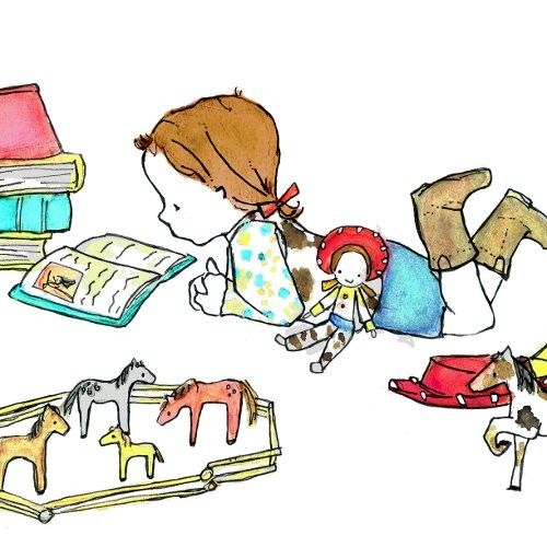 This would have been me as a little girl...loved books, loved horses, loved boots!!!