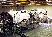 THE RECONSTRUCTED WRECKAGE OF TRANS WORLD AIR BOEING 747 FLIGHT 800 IN 1996