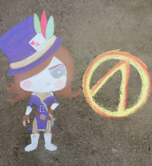Moxxi. Borderlands. Funko. Sidewalk Chalk art. Drawn by said-ivy.