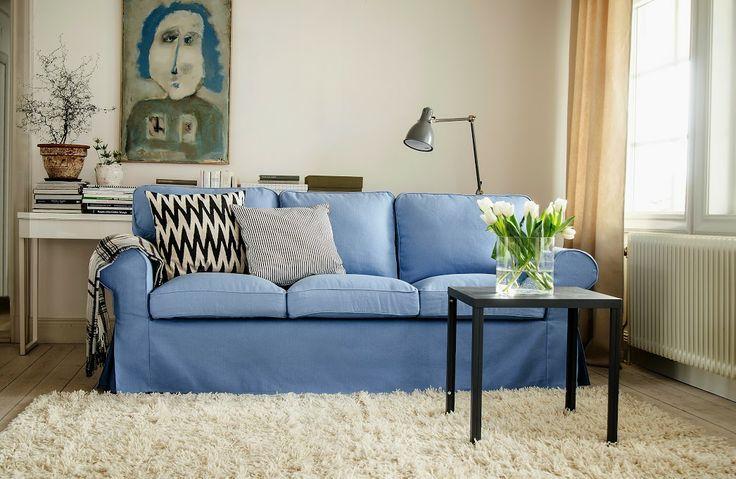 Chesterfield Sofa Ektorp seater sofa cover in Light Denim Blue Belgian Linen Blend Cushion cover in Sandhamn Stripe Black White bemz Deco Pinterest Sofa