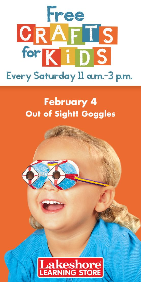 Join us Saturday, February 4 from 11 a.m. - 3 p.m. at any Lakeshore Learning Store for #FreeCraftsForKids! These crafty egg-carton goggles help kids see the world through new eyes!