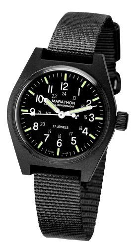 Marathon Watch, General Purpose Mechanical Field Army Wristwatch Marathon. $161.30. 34 mm high impact fibreshell with a waterpoof and dustproof case with nylon watch band. Made by Marathon Watch Company in La Chaux De Fonds, Switzerland. Authentic military watch as supplied to Government. This product is genuine issue NSN: 6645-00-066-4279. Genuine military hack watch, manual wind, tritium tubes for illumination