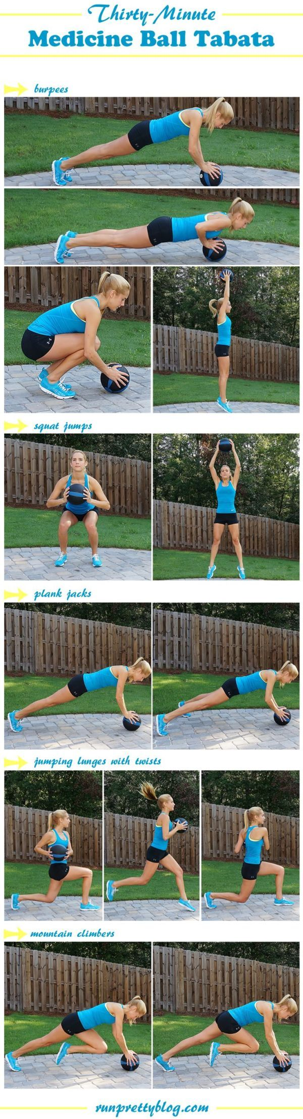 tabata and hiit workouts like this medicine ball workout from Run Pretty Blog.