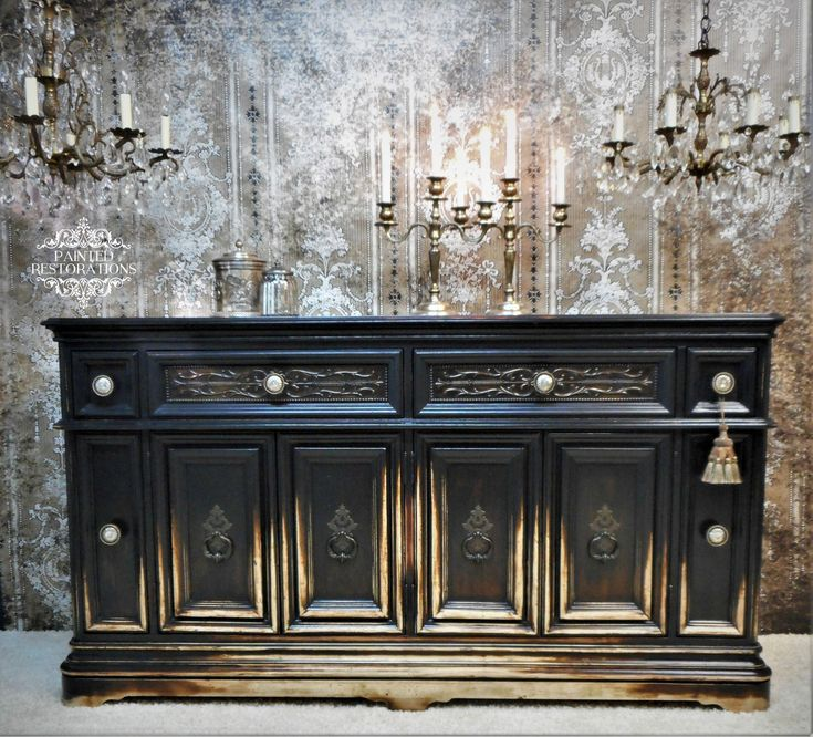 Painted Furniture Idea. Black painted buffet. #DIYhomedecor
