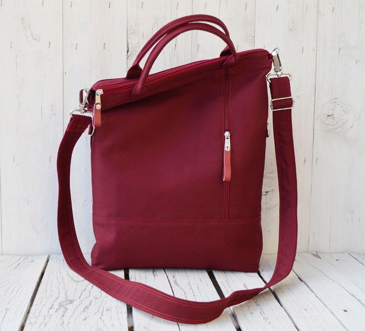 burgundy canvas tote bag, zipper crossbody messenger, unisex laptop carrier, canvas macbook satchel, valentine day gift for wife, birthday by skbag on Etsy https://www.etsy.com/listing/267589626/burgundy-canvas-tote-bag-zipper
