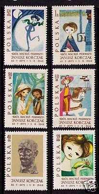Stamps celebrating the works and life of Janusz Korczak. He was a Polish-Jewish educator, children's writer, and doctor. He spent many years working as director of an orphanage in Warsaw. Under Nazi occupation, he refused a chance to escape, and stayed with his orphans when they were sent to Treblinka extermination camp.