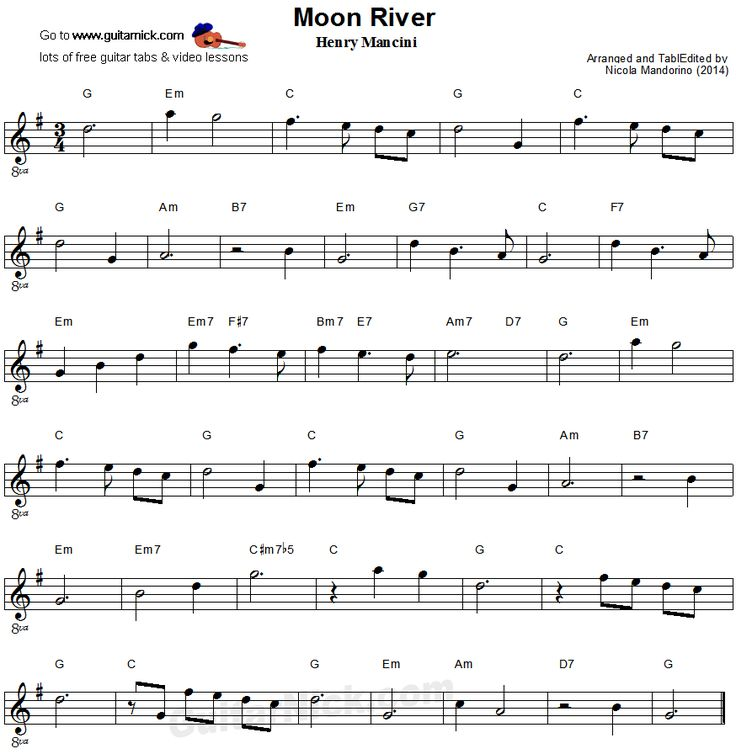 Moon River - easy guitar sheet music