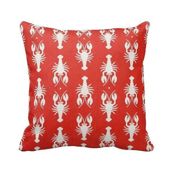Zippered Cream and Red Lobster Throw Pillow Cover by Primal Vogue - Various Sizes 14x14 16x16 ...