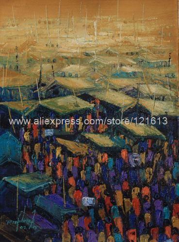 Pintura expresionista africana Fine Art Market Center hechos a mano Ghana pinturas al óleo lienzo decoración cuadros On The Wall Monr(China (Mainland))