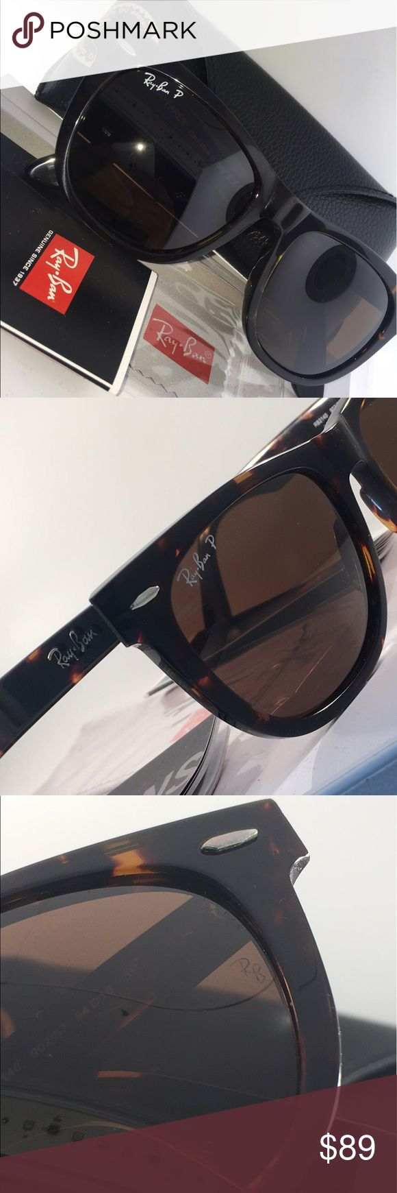 Ray Bans Wayfarer RAY BANS RB2140 TORTOISE WAYFARER POLARIZED 54mm w/ CASE AND PAPERS Ray-Ban Accessories Glasses