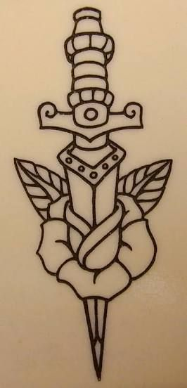 knife with rose tattoo? ?? ??? ????(Broken Bottle Sketch)