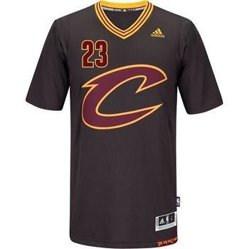Cavs Lebron James #23 Black Sleeved Script C Swingman in black at the Cleveland Cavaliers Team Shop