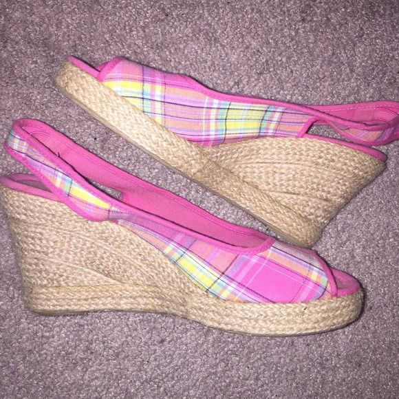 SALE Peep Toe Wedge Espadrilles Pink Plaid Peep Toe Wedges, size 6.5. Worn once-perfect condition! Perfect for Spring/Easter! Shoes Espadrilles