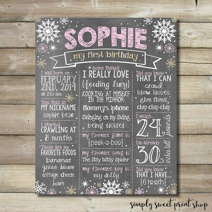 First Birthday Chalkboard Poster Girl Winter Onederland Wonderland Customized One Year Sign Pink Glitter Gold Chalk Snowflakes Printable DIY by SimplySweetPrintShop on Etsy https://www.etsy.com/listing/247581086/first-birthday-chalkboard-poster-girl