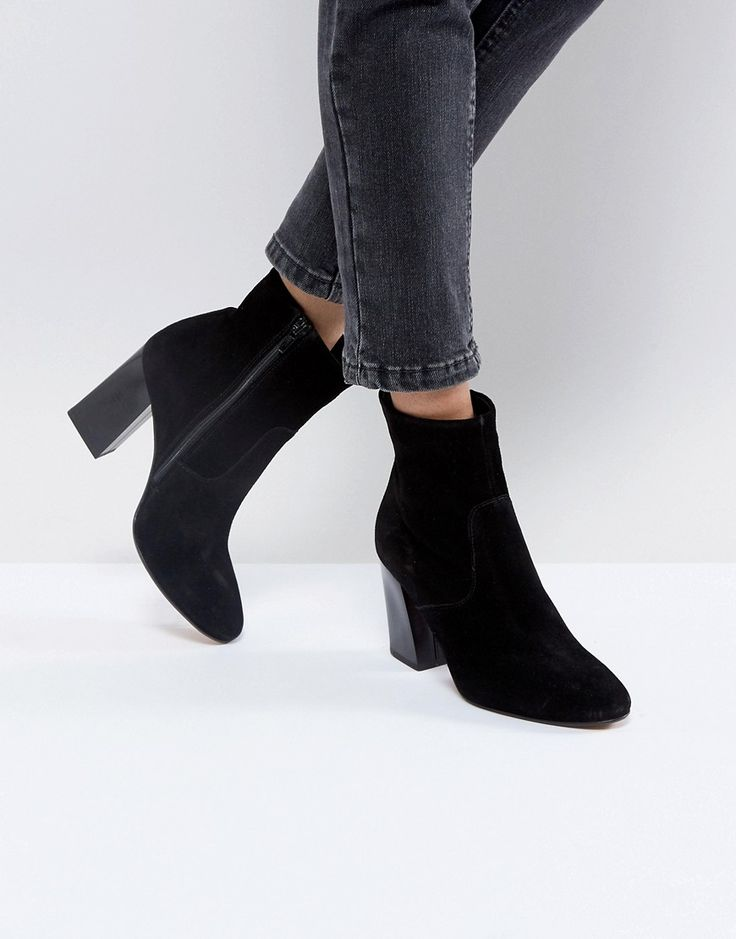 ASOS EMSEY Suede Ankle Boots - Black
