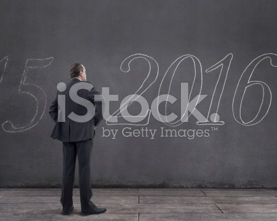 "Businessman with Word ""2016"" Written on the Wall (royalty-free stock photo) © mgkaya"
