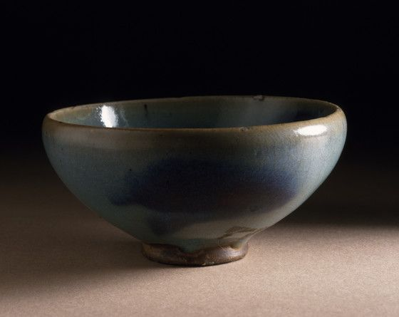 Bowl (Wan) China, Henan Province, Jin dynasty, 1127-1234 Furnishings; Serviceware Jun ware, wheel-thrown stoneware with blue glaze and purple splashes Diameter: 3 in. (7.62 cm) Height: 1 1/2 in. (3.81 cm) Gift of Carl Holmes (58.49.14)