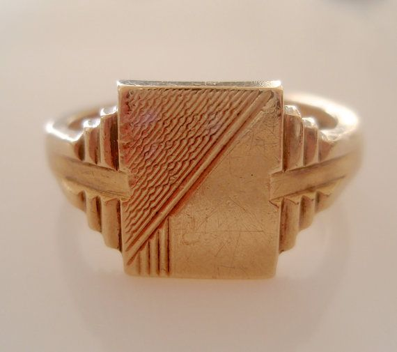 Large 9ct Solid Gold Signet Ring Size W or 11 by TrueVintageCharms