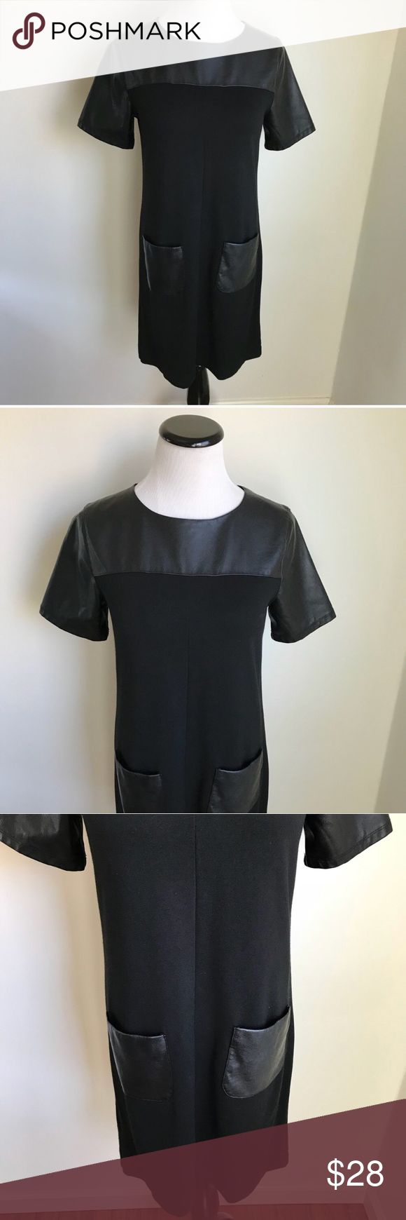 Anne Taylor Loft Black Vegan Leather Shift Dress Anne Taylor Loft Black Vegan Leather Shift Dress Measurements laying flat:  Underarm to underarm- 17 Total length- 33   bin 8 LOFT Dresses Mini