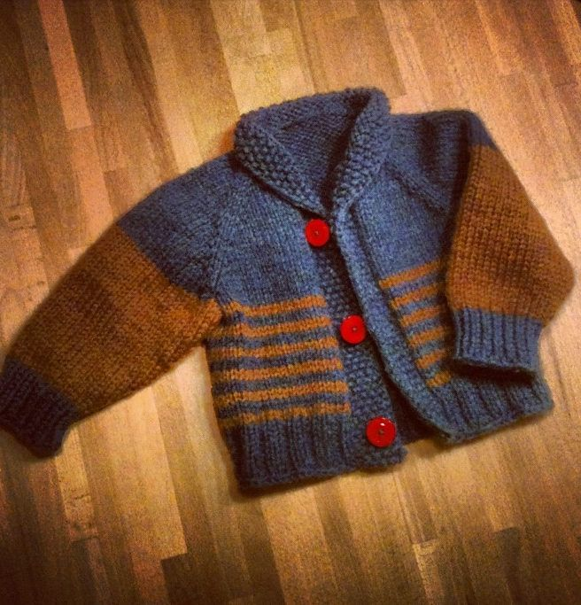 Free Knitting Pattern for Denise or Denephew Baby Cardigan - This shawl-collared striped cardigan is knit seamlessly from the top down, increasing along the raglan lines. Quick knit in bulky yarn. Designed by by Ned Renfield