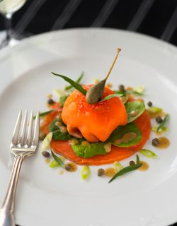 Recipe - Smoked salmon wrapped poached egg, baby spinach salad and grain mustard vinaigrette