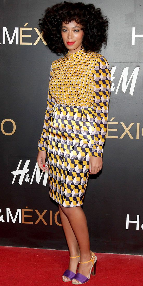 Solange Knowles opened H's Mexico City store in the label's patterned separates and colorblock sandals.