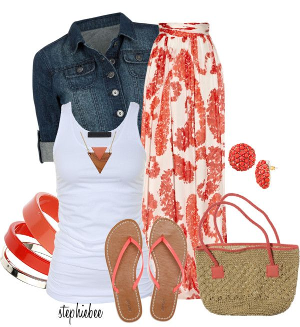 Summer Outfit: Jeans Jackets, Color, Spring Summ, Tanks Tops, Summer Outfits, Fashionista Trends, Coral Maxi Skirts, Casual Outfits, Work Outfits