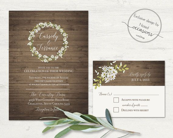 Rustic Daisy Wedding Invitation Set Printable RSVP And Invite Country  Floral Barn Wood Lights Country Wedding Printable Digital Template Kit