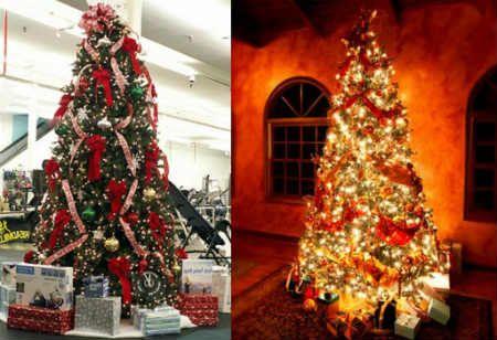 Как украсить елку на Новый год 2016 - елка с бантами