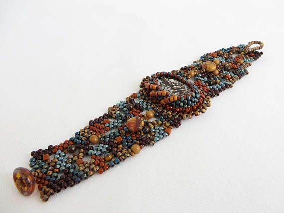 Earth Colors Bead Embroidery Free Form Seed Bead Cuff