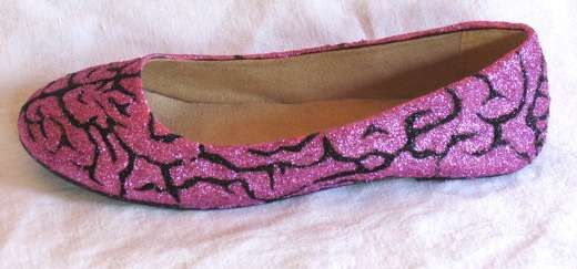 Gruesome Sparkle Flats - Be a Fashionable Halloween Zombie with the Brains Glitter Shoes (GALLERY)