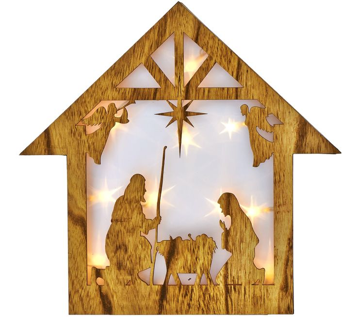 "Plow & Hearth 15"" Wooden Star w/ Holographic Illumination"