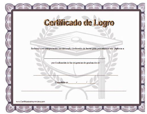 Certificado de Logro para imprimir los certificados, gratis para descargar e imprimir