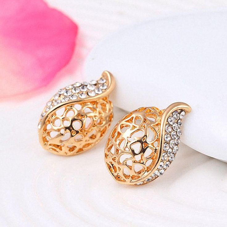 Crystal Rhinestone Hollow Water Drops Necklace Earrings Sets at Banggood