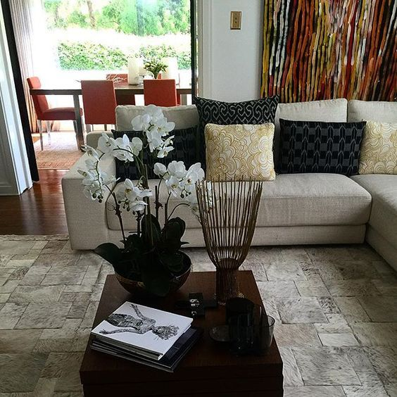 Living room styling. modern renovation. Hide Floor Rug.