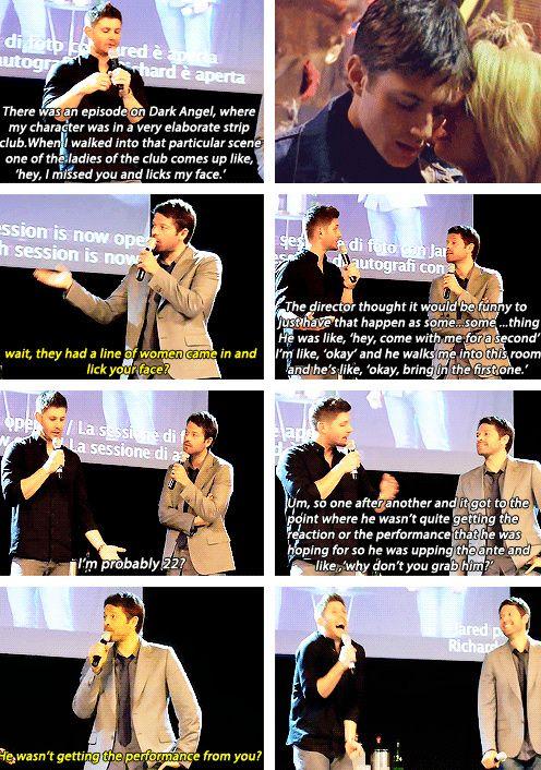 [gifset] Jensen and auditioning the stripper for scene on dark angel. #JibCon14 #Jensen #Misha