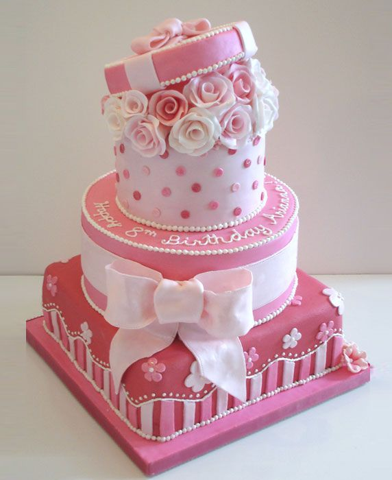 Pretty Pink Birthday Cake for 8 Year Old Cake Decorating ...