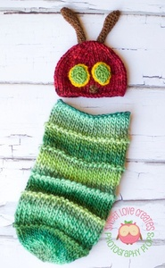 Caterpillar! Bunting sack and hat